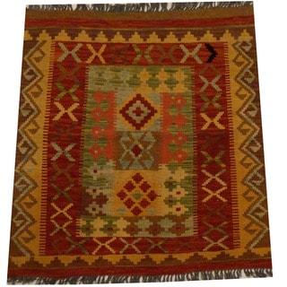 Herat Oriental Afghan Hand-woven Vegetable Dye Wool Kilim (3'1 x 3'4)