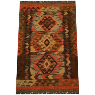 Herat Oriental Afghan Hand-woven Vegetable Dye Wool Kilim (2'6 x 3'10)