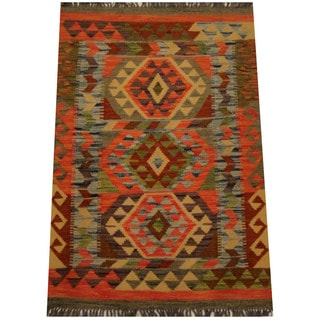 Herat Oriental Afghan Hand-woven Vegetable Dye Wool Kilim (2'7 x 3'9)