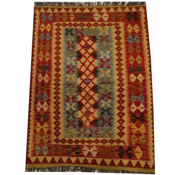 Handmade Herat Oriental Afghan Vegetable Dye Wool Kilim (Afghanistan) - 2'9 x 3'10