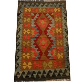 Herat Oriental Afghan Hand-woven Vegetable Dye Wool Kilim (2'8 x 4'2)