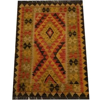 Herat Oriental Afghan Hand-woven Vegetable Dye Wool Kilim (2'8 x 3'8)