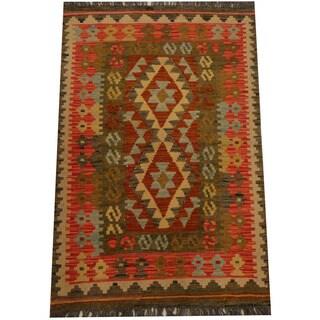 Herat Oriental Afghan Hand-woven Vegetable Dye Wool Kilim (2'8 x 4'1)