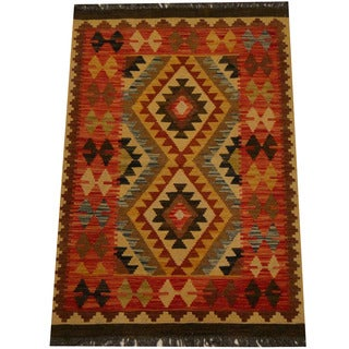 Herat Oriental Afghan Hand-woven Vegetable Dye Wool Kilim (2'1 x 4'1)