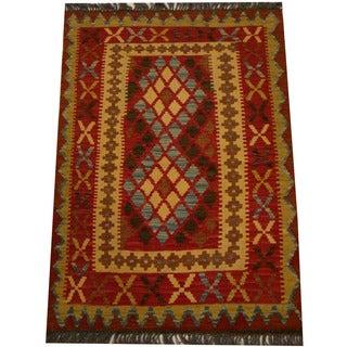 Herat Oriental Afghan Hand-woven Vegetable Dye Wool Kilim (2'9 x 3'11)