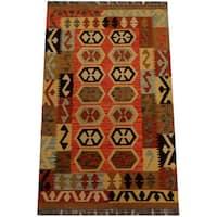 Handmade Herat Oriental Afghan Vegetable Dye Wool Kilim  - 2'9 x 4'6 (Afghanistan)