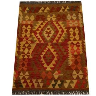 Herat Oriental Afghan Hand-woven Vegetable Dye Wool Kilim (3' x 3'10)