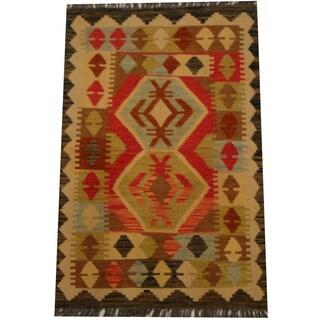 Herat Oriental Afghan Hand-woven Vegetable Dye Wool Kilim (2'6 x 3'10)