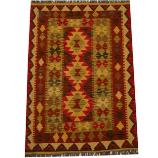 Herat Oriental Afghan Hand-woven Vegetable Dye Wool Kilim (2'8 x 3'10)