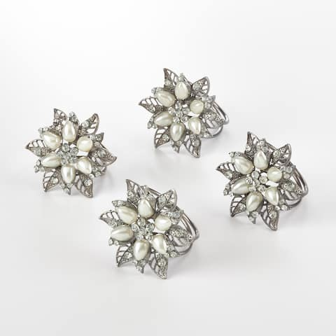 Bejeweled Flower Design Napkin Ring (Set of 4)
