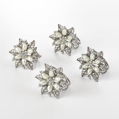 Bejeweled Flower Design Napkin Ring (Set of 4)