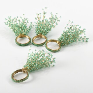 Beaded Design Napkin Ring (Set of 4) (Option: aqua)