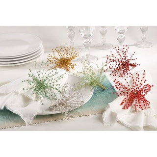 Beaded Spray Design Napkin Ring (Set of 4)