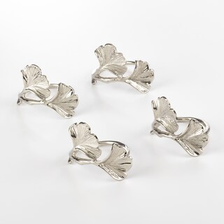 Ginko Design Napkin Ring Ginko Napkin Ring (Set of 4) (Option: silver)