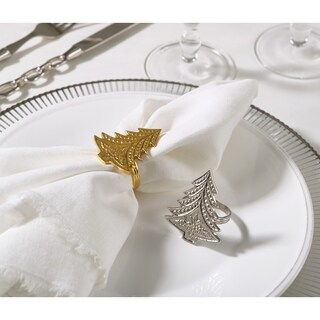 Christmas Tree Design Christmas Tree Napkin Ring (Set of 4) (Option: Gold)