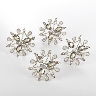 Jeweled Snowflake Design Napkin Ring (Set of 4)