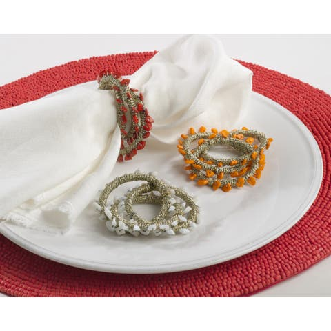 Napkin Ring Collection Beaded Napkin Ring Design (Set of 4)