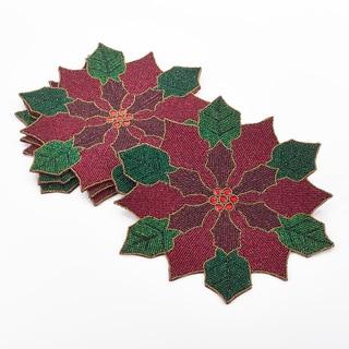 Poinsettia Design Beaded Poinsettia Placemat (Set of 4)