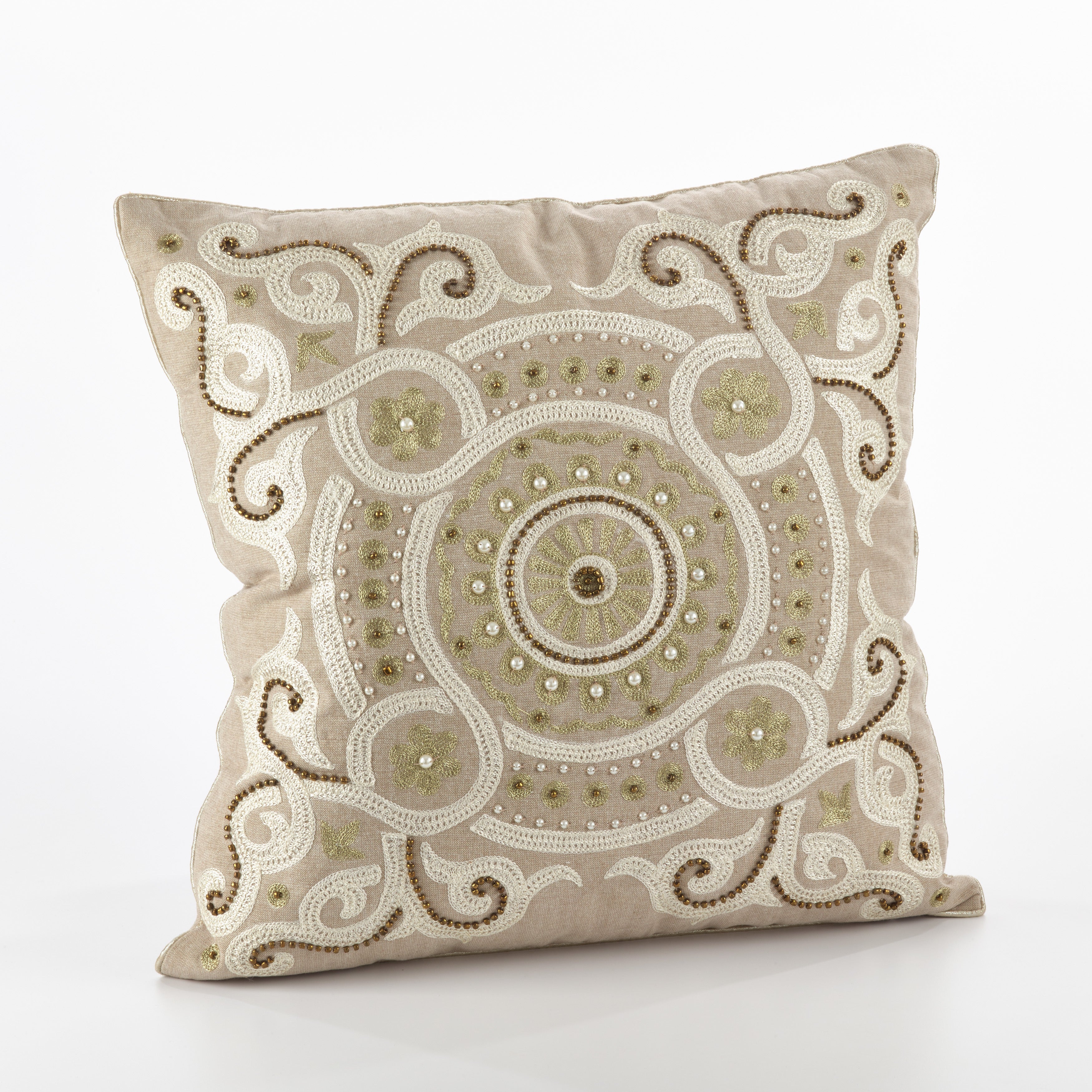 Martina Design Embroidered & Beaded Design Throw Pillow - FLD (Natural, 20 inches long x 20 inches wide)