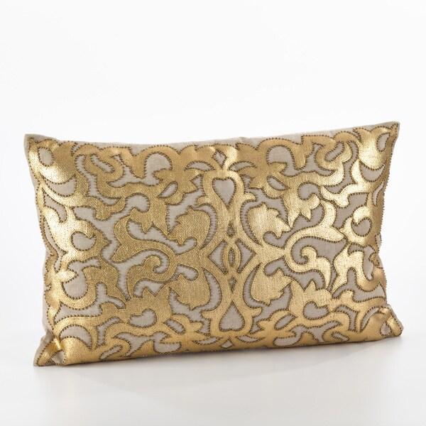 Aura Collection Metallic Applique Beaded Throw Pillow