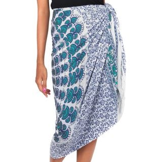 Handcrafted Rayon 'Aqua Sunshine' Sarong (Indonesia)