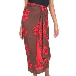Handcrafted Rayon Batik 'Hibiscus Dream' Sarong (Indonesia)