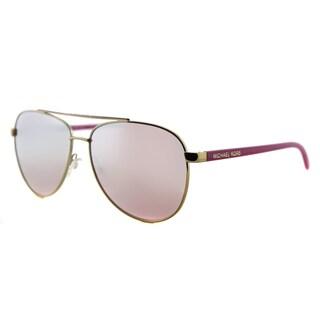 Michael Kors MK 5007 10397V Hvar Gold Metal Aviator Milky Pink Mirror Lens Sunglasses