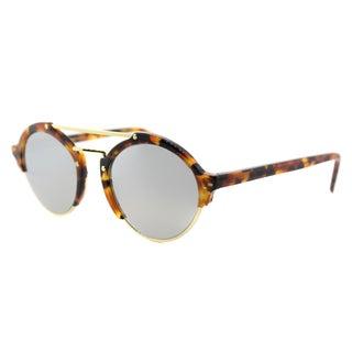 Illesteva Millan II 9SM Light Tortoise Plastic Round Silver Mirror Lens Sunglasses