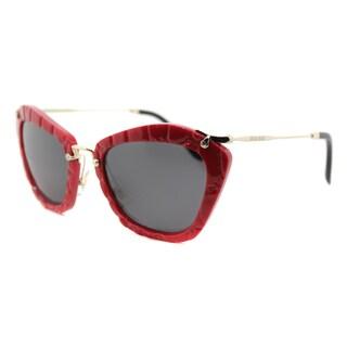 Miu Miu MU 10NS USX5S0 Noir Red Plastic Cat-Eye Grey Lens Sunglasses