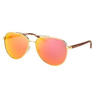 Michael Kors MK 5007 10436Q Hvar Gold Metal Aviator Orange Mirror Lens Sunglasses