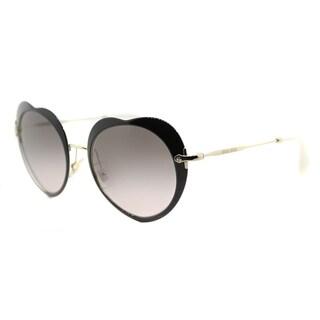 Miu Miu MU 54RS 1AB4K0 The Collection Miu Miu Black Metal Fashion Grey Gradient Lens Sunglasses