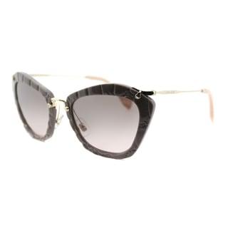 Miu Miu MU 10NS USY4K0 Noir Beige Plastic Cat-Eye Grey Gradient Lens Sunglasses
