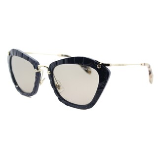 Miu Miu MU 10NS USZ5J2 Noir Blue Plastic Cat-Eye Light Brown Lens Sunglasses