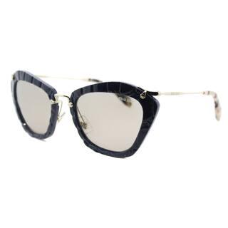 1c1c8fcbe1ab Miu Miu MU 10NS USZ5J2 Noir Blue Plastic Cat-Eye Light Brown Lens Sunglasses