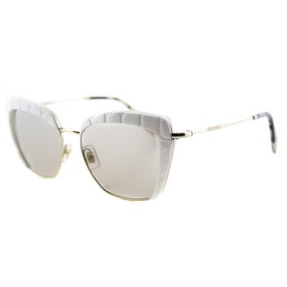Miu Miu MU 52QS 7S35J2 White Plastic Square Light Brown Lens Sunglasses