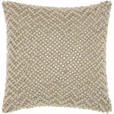 Mina Victory Luster Diamond Chevron Ivory Throw Pillow by Nourison (12-Inch X 12-Inch)