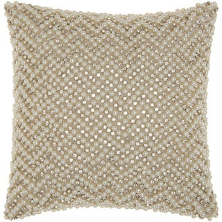 Mina Victory Luster Diamond Chevron Ivory 12 x 12-inch Throw Pillow by Nourison