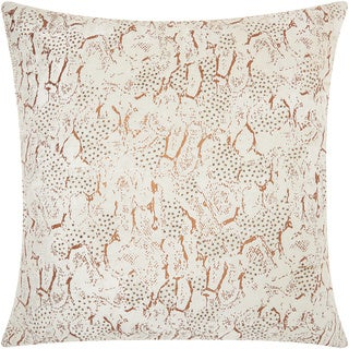 Mina Victory Luminescence Beaded Animal Print Copper Throw Pillow (20-inch x 20-inch) by Nourison