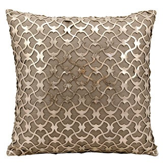 Mina Victory Natural Hide Romantic Laser Cut Gold/ Beige 18 x 18-inch Throw Pillow by Nourison