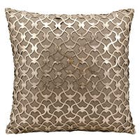 Mina Victory Natural Hide Romantic Laser Cut Gold/ BeigeThrow Pillow by Nourison (18-Inch X 18-Inch)