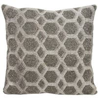 Mina Victory Natural Hide Gleaming Diamonds Grey/ PewterThrow Pillow by Nourison (18-Inch X 18-Inch)