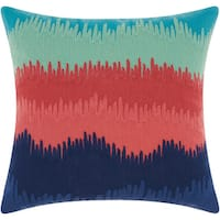 Mina Victory Life Styles Paint Drip Stripes Navy/Coral/Multicolor Throw Pillow (18-inch x 18-inch) by Nourison