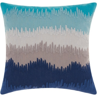 Mina Victory Life Styles Paint Drip Stripes Navy/Grey Throw Pillow (18-inch x 18-inch) by Nourison