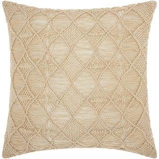 Mina Victory Luminescence Macrame Diamonds Gold Throw Pillow (20-inch x 20-inch) by Nourison