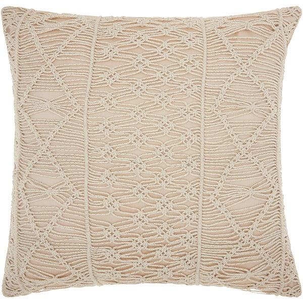 Mina Victory Luminescence Macrame Stripes Silver Throw Pillow by Nourison (20-Inch X 20-Inch)