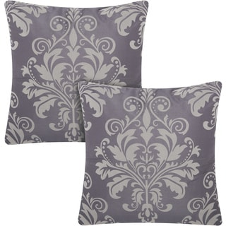 kathy ireland Damask Flocking Charcoal/Grey 20-inch Throw Pillow (Set of 2) by Nourison