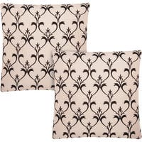 kathy ireland Blooms Flocking Champagne/Black 20-inch Throw Pillow (Set of 2) by Nourison