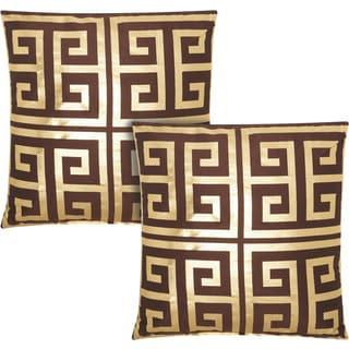 kathy ireland Greek Key Metallic Brown/Gold 20-inch Throw Pillow (Set of 2) by Nourison