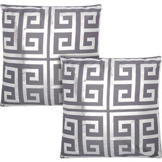 kathy ireland Greek Key Metallic Charcoal/Grey 20-inch Throw Pillow (Set of 2) by Nourison