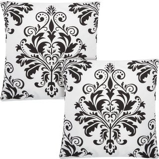 kathy ireland Damask Flocking White/Black 20-inch Throw Pillow (Set of 2) by Nourison
